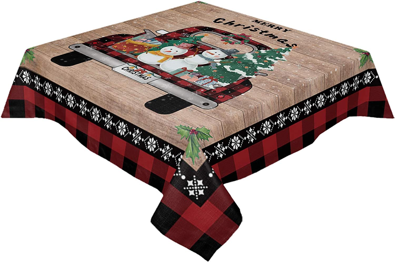 LEO BON Square ついに入荷 Tablecloth 激安通販ショッピング Linen 60x60in Tr Cover Table Christmas