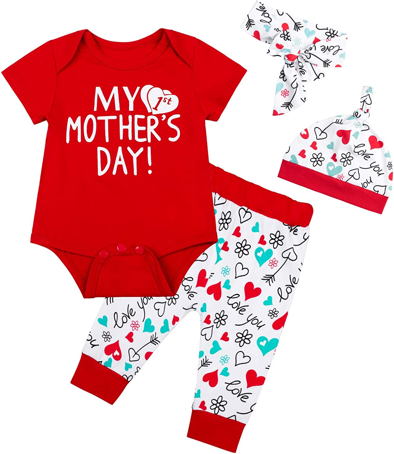 My First Mother's Day Outfit Baby Time sale Max 64% OFF Clothe Short Sleeve Boys Girls