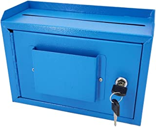 "FixtureDisplays 10 x 7.2 x 3"", Metal Multipurpose, Donation Box,Cash and Mail Box,Suggestion Box 15211 Blue"
