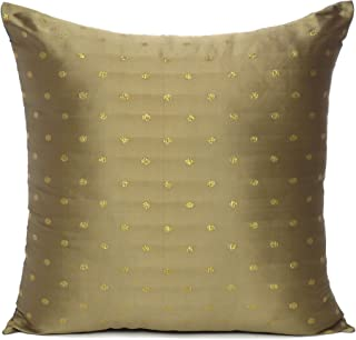 Oussum Art Silk Cushion Cover Throw Cushion Case Brocade Silky Pillow Covers Home Decor Pillow Case (Gold, 12 x 12)