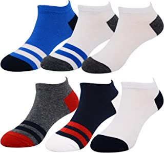 Baby Boys Ankle Low Cut Socks Fashion Colorful Stripes Cotton Dress No Show for Toddler 2-4T,5-8T (6Pack)