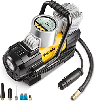 AstroAI Portable Air Compressor Pump, Digital Tire Inflator 12V DC Electric Gauge with Larger Air Flow 35L/Min, LED Light, Overheat Protection, Extra Nozzle Adaptors and Fuse, Yellow: image