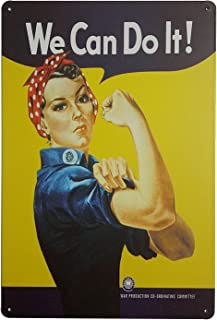 """Pin-up Girl We Can Do It Retro Vintage Tin Signs 12"""" X 8"""" Inches"""