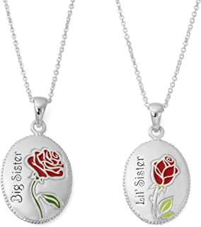 """Beauty and The Beast Jewelry for Women and Girls, Silver Plated """"Big Sister, Lil' Sister"""" Set of Two Pendant Necklaces, 18"""" Chain"""