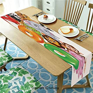 Zoo Table runner for Farmhouse Dining Coffee Table Decorative,Word Zoo with Happy Cartoon Wild African Animals Hippo Zebra Giraffe Elephant Toucan 16