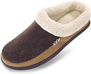 VONMAY Men's Wool Plush Fleece Memory Foam Slippers Slip On Clog House Shoes Indoor Outdoor