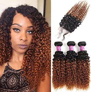 Brazilian 2 Tone Ombre Kinky Curly Hair 3 Bundles with Closure 4X4 Ombre Free Part Lace Closure with Virgin Remy Human Curly Hair Bundles Extensions (10