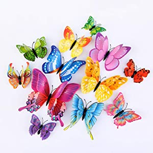 Bintufan 12PCS 3D Butterfly Wall Stickers Decor Mural Home Art Decoration Flower Arrangement Kids Room Removable DIY Decals Girls Bedroom Party Supplies (Colorful)
