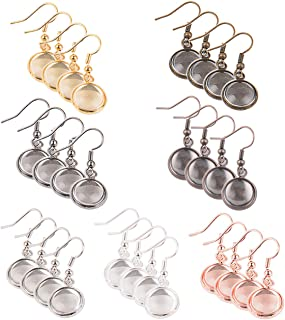 Earring Wire Hooks, 28 Pieces 7 Colors Dangle Tray Earring Settings with 12mm Glass Cabochon Clear Dome for DIY Jewelry Making (Colorful)