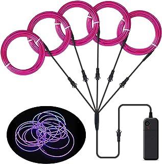 Songway EL Wire, luces de neón de cuerda, luz estroboscópica intermitente, cable de alambre electroluminiscente para la fiesta de Halloween Carnaval navideño Decoración del festival (Purple)
