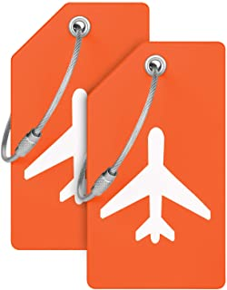 Sponsored Ad - Mifflin Luggage Tags (Orange, 2 Pack), Soft PVC with Plane Embedded Design & Name ID Card; Bright Colors to...