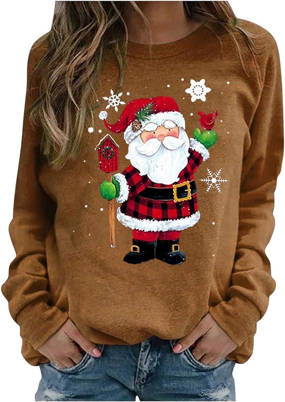 Womens Long Sleeve Tops,Women Casual Christmas Printed Long Sleeve Sweatshirt Pullover Shirts Top Blouse