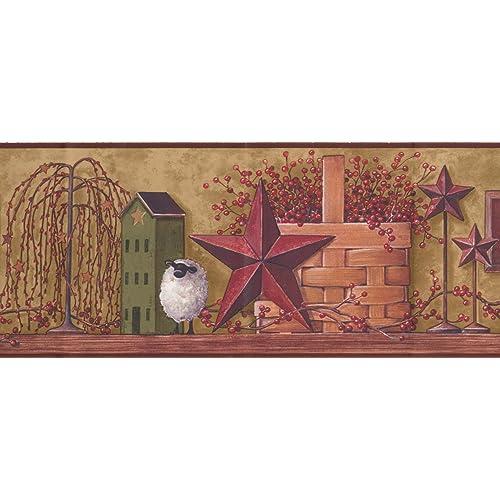 Faith Hope Love Garnet Red Star Red Currant in Basket White Sheep Olive Green Wallpaper Border