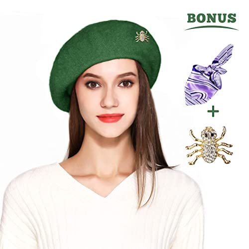 2c1c3c5259422 Jeicy Wool Beret Hat Solid Color French Artist Beret Skily Scarf Brooch