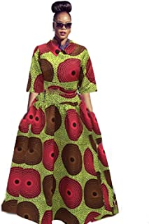 Womens African Dress Maxi Dashiki Print Fit and Flare Half Sleeve Expansion 2 Pcs Skirt with Pockets