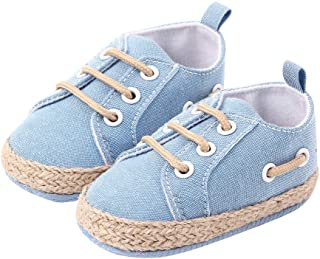 Hopscotch Boys and Girls Cotton and Polyester Applique Solid Fixed Lace Early Walker Shoe in Blue Color