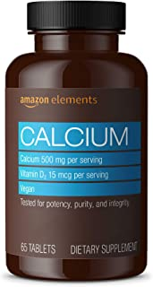 Amazon Elements Calcium plus Vitamin D, Calcium 500mg with D2 600IU, Vegan, 65 Tablets (2 month supply) (Packaging may var...