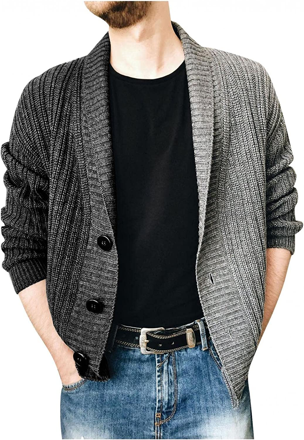 Beshion Men's Cardigan Sweater Lightweight Long Sleeve Two-Color Stitching Lapel Single-Breasted Knit Sweater Coat