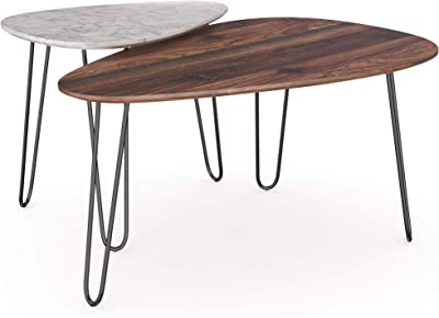 Silver Avellino Luxury Furniture Coffee Tables Set of 3 End Tables Stacking Side Tables Nesting Tables for Living Room