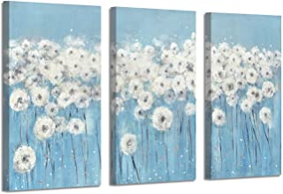 Abstract Dandelion Artwork Canvas Picture: Floral Painting Blue and White Wall Art (26'' x 16'' x 3 Panels)