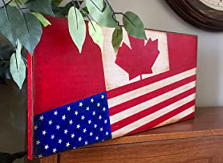 American and Canadian Flag Wooden Plaque Primitive Rustic Sign