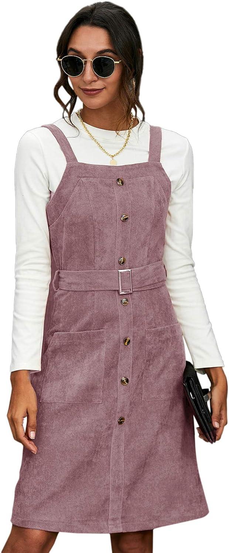 Milumia Women Button Front Corduroy Sleeveless Phoenix Mall Belted O Virginia Beach Mall Pinafore