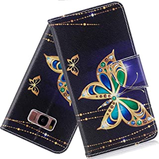 S8 Plus Case Samsung Galaxy S8+ Plus case ISADENSER Wallet Case with Card/Cash Slots [Kickstand] PU Leather Folio Flip Protective Case Cover for Samsung Galaxy S8+ Plus Ink Butterfly