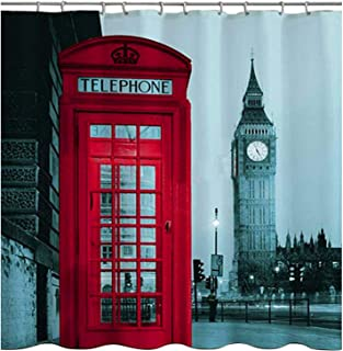 WoneNice Fabric Shower Curtain with Big Ben Design,72x72 Inches Shower Curtain