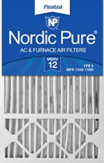 Nordic Pure 16x25x4/16x25x5 (15 3/4 x 24 3/4 x 4 3/8) Honeywell FC100A1029 Replacement Pleated AC Furnace Air Filters MERV 12, Box of 2