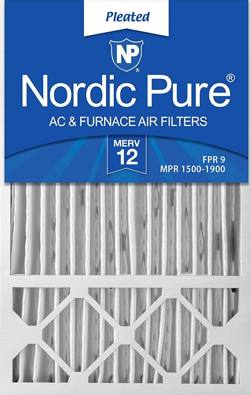 Nordic Pure 16x25x4/16x25x5 (15 3/4 x 24 3/4 x 4 3/8) Honeywell FC100A1029 Replacement Pleated AC Furnace Air Filters MERV 12, Box of 4