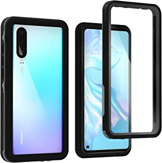 ASAKUKI Shockproof Case For HUAWEI P30, Full Body Drop & Waterproof Protection Clear Case with Screen Protector, for Outdoor Activity, Swimming