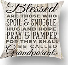 WePurchase Black Brown Words Blessed are Those Who Spoil & Snuggle Play & Pamper Grandparents Quote Cotton Linen Decorative Home Sofa Living Room Throw Pillow Case Cushion Cover Square 18x18 Inches
