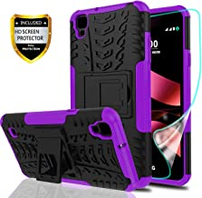 YmhxcY LG Tribute HD Phone Case,LG X Style Case,LG Volt 3 Case with HD Screen Protector,Military Armor Drop Tested [Heavy Duty] Hybrid Case with Kickstand for LG L53B/L56VL/LS676-LT Purple