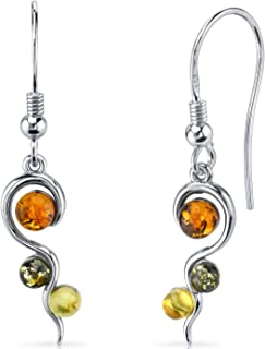 Baltic Amber Squiggle Earrings Sterling Silver Green Honey Cognac Colors