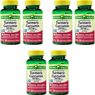 Spring Valley Stndr Turmeric Curcumin Complex Dietary Supplement Capsules, 500 mg, 90 Count Bottle (6 Pack)
