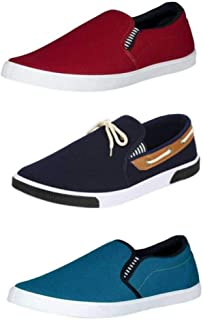 HOTSTYLE Men's 3 Pair Combo Canvas Casual Sneakers