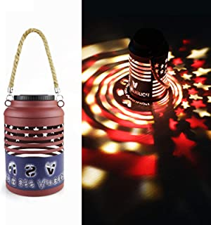 Solar Lanterns Outdoor Christmas Decorations Waterproof Rotating Solar Projector Lights Outdoor Hanging American Flag Lights