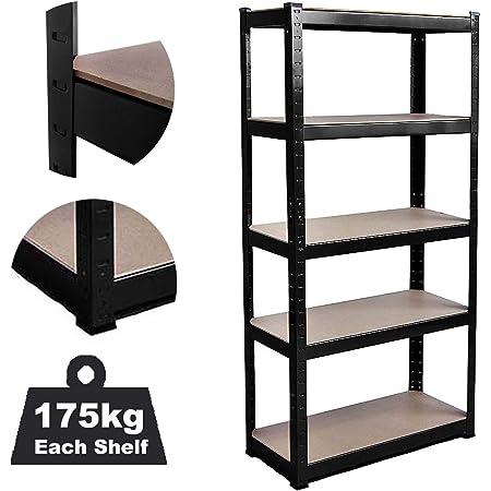DICN Estantería de 5 niveles de metal, 150 x 70 x 30 cm (alto x ancho x profundidad), nivel ajustable sin tornillos para el hogar, la oficina, el ...