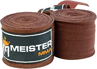 """Meister Adult 180"""" Semi-Elastic Hand Wraps for MMA & Boxing (Pair)"""