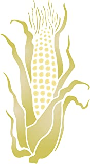 """Sweet Corn Stencil - (size 6.5""""w x 12""""h) Reusable Wall Stencils for Painting - Best Quality Vegetable Kitchen Stencil Ideas - Use on Walls, Floors, Fabrics, Glass, Wood, Terracotta, and More…"""