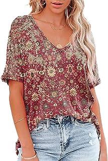 Muzboo Camiseta holgada de verano con cuello en V, manga corta estampada