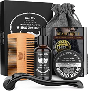 Beard Growth Kit, Beard Roller Kit for Beard & Mustache Facial Hair Growth, Stimulate, Promote with 100% Natural Beard Gro...