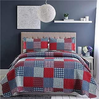 Jessy Home Quilts King Size,Plaid Patchwork Coverlet Set,Reversible Bedspread Set,3 Pieces 1 Quilts 2 Pillow Shams