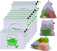 BB Brotrade Reusable Mesh Produce Bags,Washable Set of 9 Premium See-Through Net Zero Produce Bags with Tare Weight Tags for Grocery Shopping Storage Toys,Fruit and Veggies