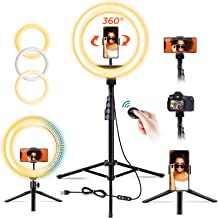 """10"""" Selfie Ring Light with Tripod Stand (75"""" Tall) & 2 Phone Holders, 3 Lighting, Elvana Dimmable Circle LED Beauty Camera..."""