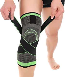 Bufccy Knee Brace Compression Knee Sleeve for Men & Women Knee Support/Protection for Joint Pain Relief and Arthritis Relief,  Running,  Cycling,  Basketball with Adjustable Strap Wrap - 1 pcs