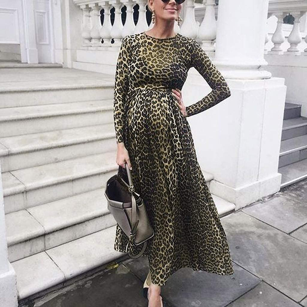Women Maternity Sleeveless Leopard Print Casual Sundress Pregnancy Vest Dress 10
