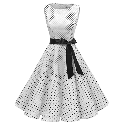 e366db53630 Gardenwed Women s Audrey Hepburn Rockabilly Vintage Dress 1950s Retro  Cocktail Swing Party Dress