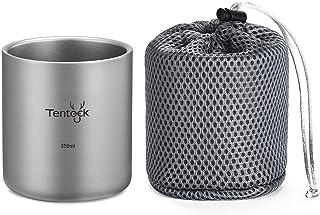 Tentock Camping Double Walled Titanium Mug 350ml/450ml Outdoor Tea Coffee Cup Tableware (350ml)