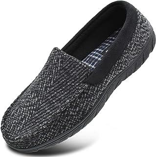 KuaiLu Pantoufles de en Mousse à mémoire de Forme pour Hommes à Enfiler sur Les Chaussures en Flanelle de Soutien de la vo...
